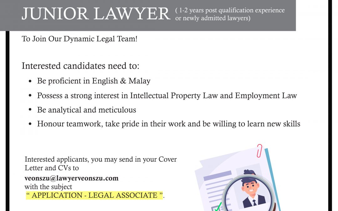 Looking For Junior Lawyer or Newly Admitted Lawyers